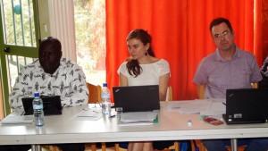 De gauche à droite, DG de l'AEM Monsieur Saïdou KANAZOE, Anne BEBOC'H, Responsable de l'action internationale (AESN), Emmanuel JESTIN Chargé d'aide au fonctionnement (AESN)